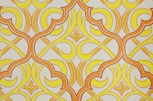 1970s Vintage Wallpaper Retro Orange and Yellow Geometric Design