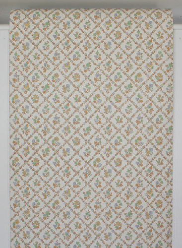 1970s Vintage Wallpaper Blue Green and Brown Floral Geometric