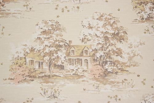 1950s Vintage Wallpaper Scenic Houses on Beige