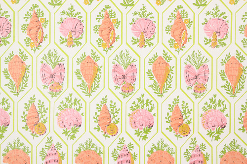 1970s Vintage Wallpaper Pink Orange Sea Shells