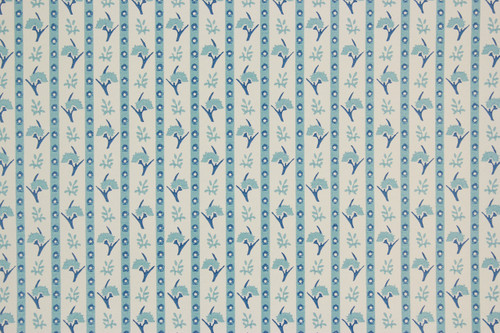 1970s Vintage Wallpaper Vinyl Blue Floral Stripe