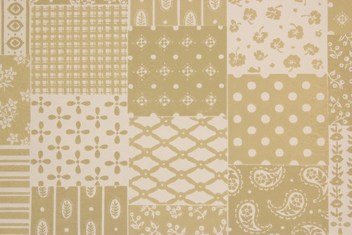 1970s Retro Vintage Wallpaper Gray Taupe Patchwork Vinyl
