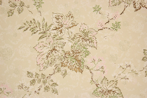 1960s Vintage Wallpaper Pink Green Leaves