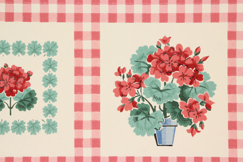 1940s Vintage Wallpaper Red Gingham Geraniums
