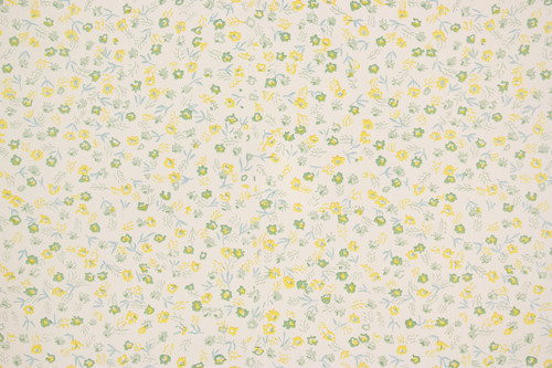 1960s Vintage Wallpaper Small Green Yellow Flowers