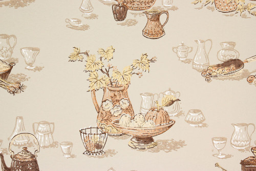 1960s Vintage Wallpaper Brown Gold Kitchen