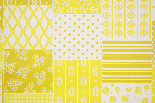 1970s Retro Vintage Wallpaper Yellow Patchwork Vinyl
