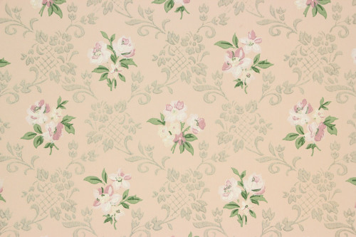 1940s Vintage Wallpaper Pink White Flowers on Pink