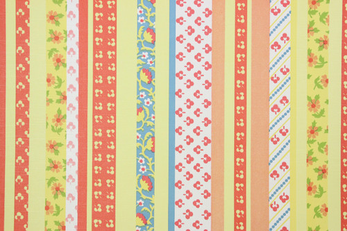 1970s Retro Vintage Wallpaper Blue Red Yellow Floral Stripe Vinyl