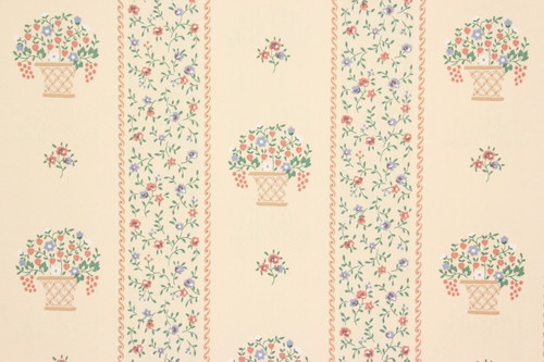 1980s Retro Vintage Wallpaper Flower Baskets Stripe