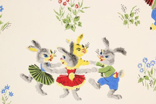 1960s Vintage Wallpaper Bunnies and Lambs