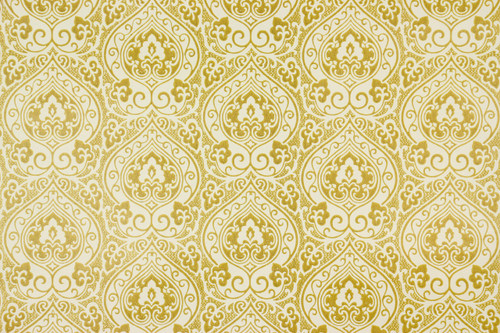 1970s Retro Vintage Wallpaper Yellow Gold Damask