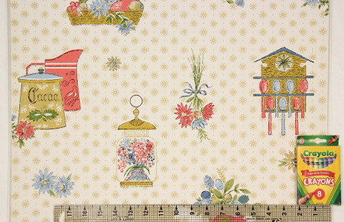 1960s Vintage Wallpaper Red Blue Kitchen