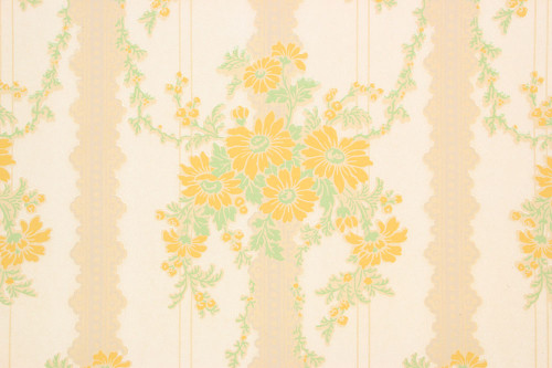 1930s Vintage Wallpaper Yellow Flower Bouquets