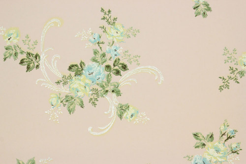 1930s Vintage Wallpaper Blue Yellow Roses on Pink