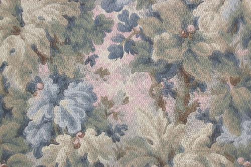 1900s Antique Wallpaper Blue Green Leaves