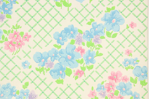 1970s Retro Vintage Wallpaper Pink Blue Flowers