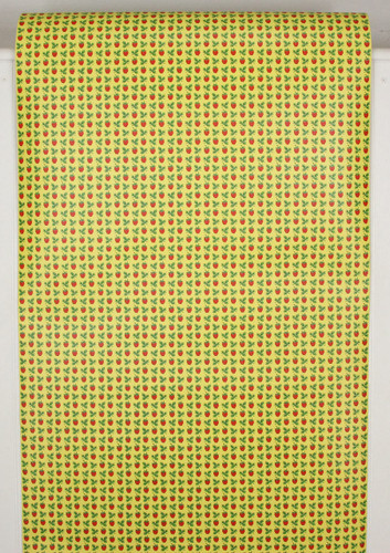 1970s Retro Vintage Wallpaper Red Strawberries on Yellow