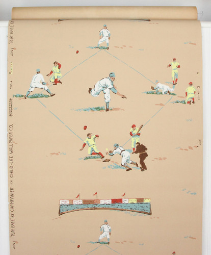 1950s Vintage Novelty Wallpaper Baseball Beige