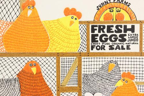 1970s Retro Vintage Wallpaper Orange Yellow Fresh Eggs Hens