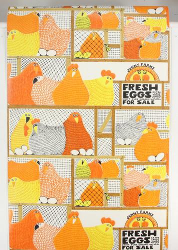 1970s Retro Vintage Wallpaper Orange Black Fresh Eggs Hens