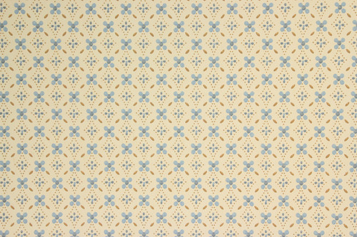 1970s Retro Vintage Wallpaper Blue Brown Geometric