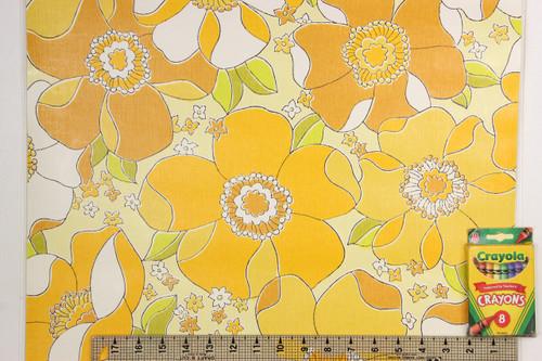 1970s Retro Vintage Wallpaper Large Yellow Flowers