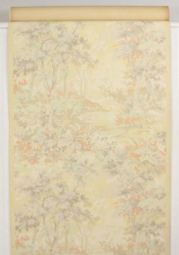 1940s Vintage Wallpaper Scenic Orange Yellow Trees River
