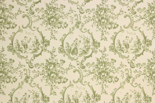 1950s Vintage Wallpaper Green Scenic Toile Thomas Strahan