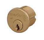 "Medeco 10-0100-606 1"" (1 inch) High Security Mortise Cylinder Satin Brass"