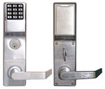 Alarm Lock DL4500DBL US26D Pushbutton Mortise Lock with Deadbolt Weatherproof Straight Lever