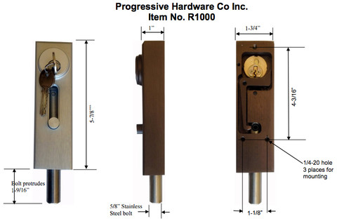 ... R1000 Revolving Door U0026 Sliding Door Drop Bolt Lock By Progressive  Hardware Dimension
