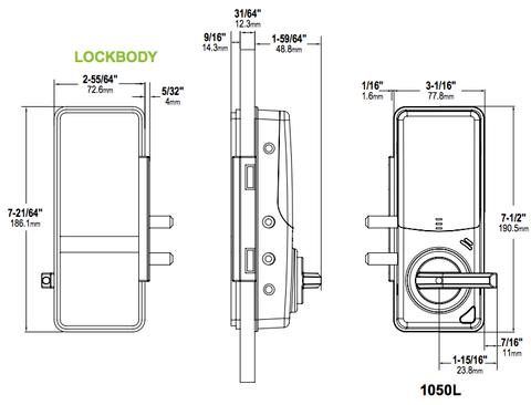 Adams Rite RT1050L Rite Touch Digital Glass Door Lock With