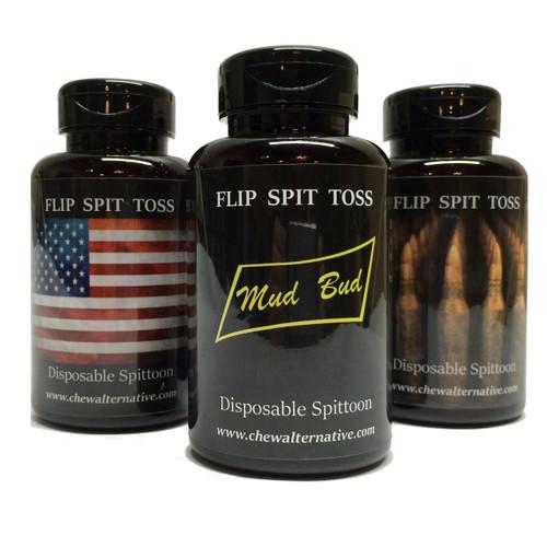 Mud Bud Disposable Spittoon 3-Pack - Flag-Bullets-Black