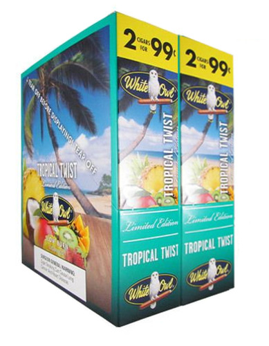 White Owl Cigarillos Tropical Twist Cigars (30 Packs of 2) - Natural