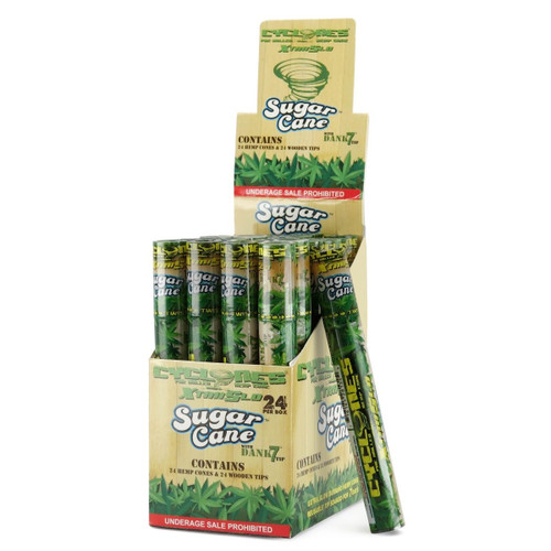 Cyclones Sugar Cane Flavored Pre-Rolled Hemp Cones Box of 24