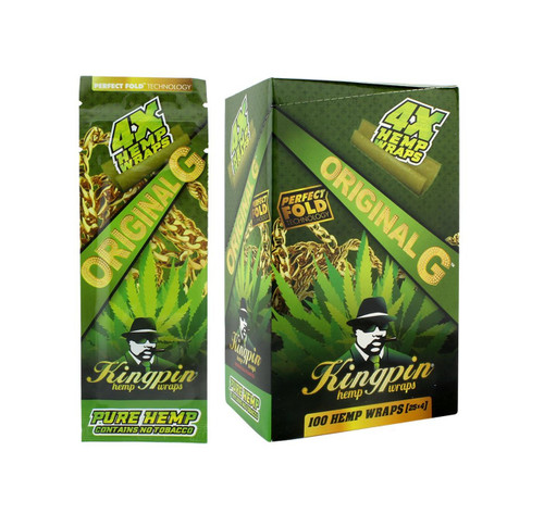 Kingpin Original G Hemp Wraps (Box of 25, 100 Total) High Hemp Herbal FRESH