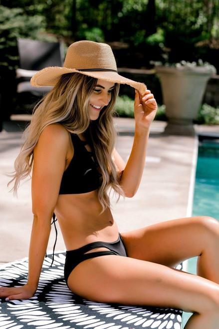 Solid High Neck Bikini Top - Black