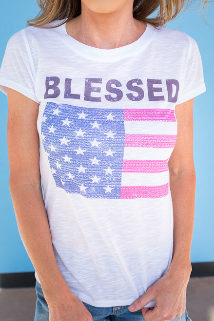 Blessed American Flag Tee - White