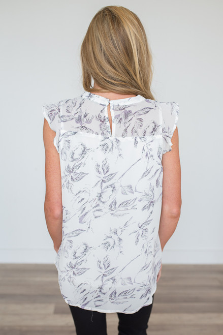 Floral Print Pleated Blouse - Ivory