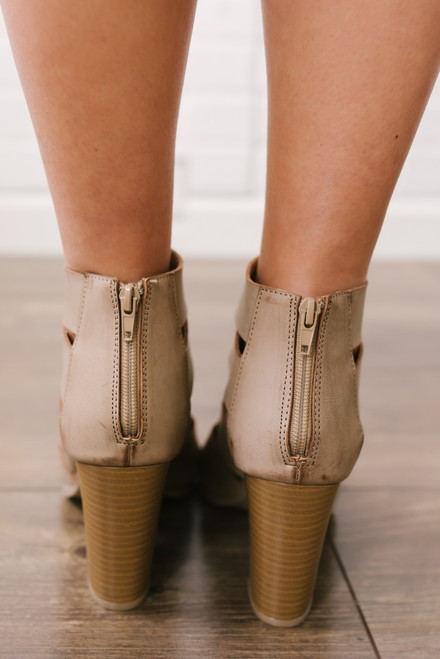 Distressed Peep Toe Booties - Taupe