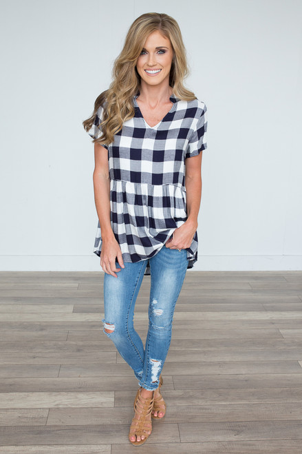 Checkmate Babydoll Blouse - Navy/White