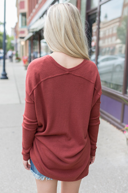 Cozy V-Neck Sweater - Brick - FINAL SALE