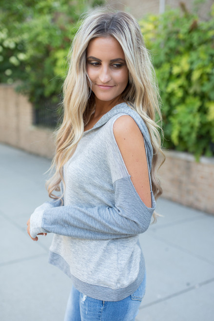 Hooded Cold Shoulder Sweater - Heather Grey - FINAL SALE