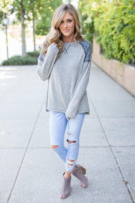 Contrast Detail Raglan Sweater - Heather Grey - FINAL SALE