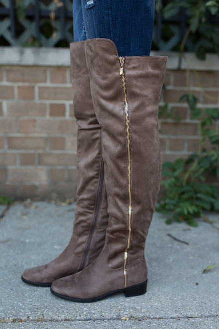 Thigh High Suede Boots - Taupe