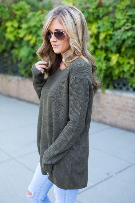 Home Sweet Home Sweater - Olive - FINAL SALE