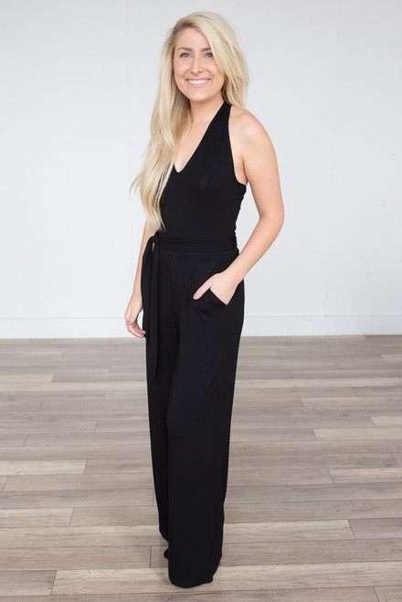 BB Dakota: Roselle Halter Jumpsuit - Black - FINAL SALE