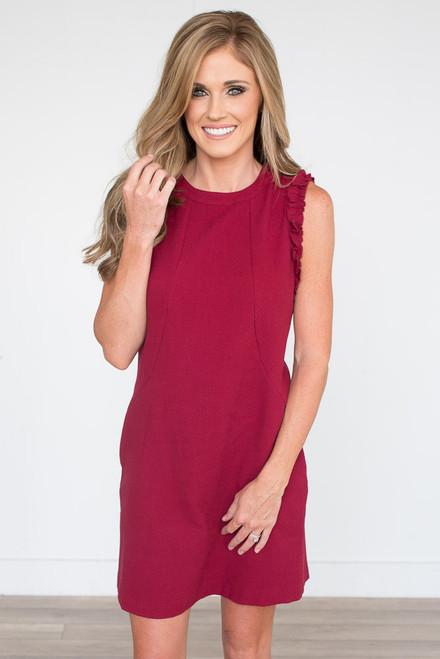 At Last Textured Dress - Burgundy - FINAL SALE