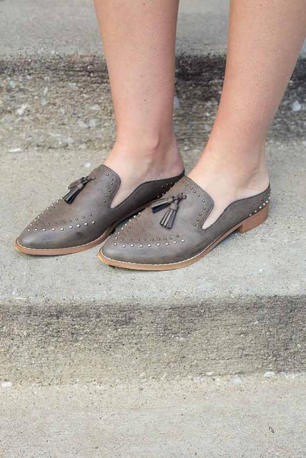 Studded Tassel Mule Loafer - Grey - FINAL SALE